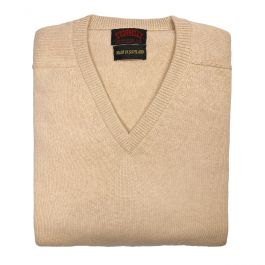O'Connell's Scottish Cashmere V Neck Sweater Oatmeal
