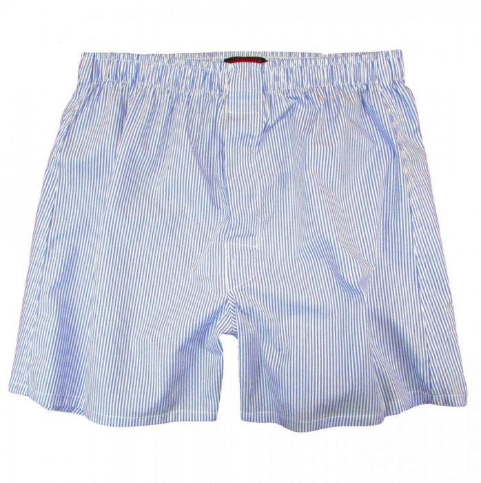 1940s Men's Clothing OConnells Broadcloth Boxer Short - Banker Stripe - Blue  AT vintagedancer.com
