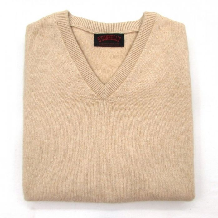 O'Connell's Scottish Cashmere V Neck Sleeveless Sweater Natural