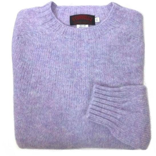 O'Connell's Womens Scottish Shetland Crewneck Sweater Lilac