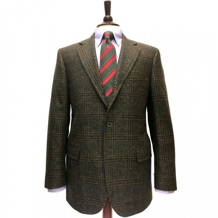 SCOTT Mens Classic Pure Wool Window Check Sports Jacket in Teal in Size 50 to 60