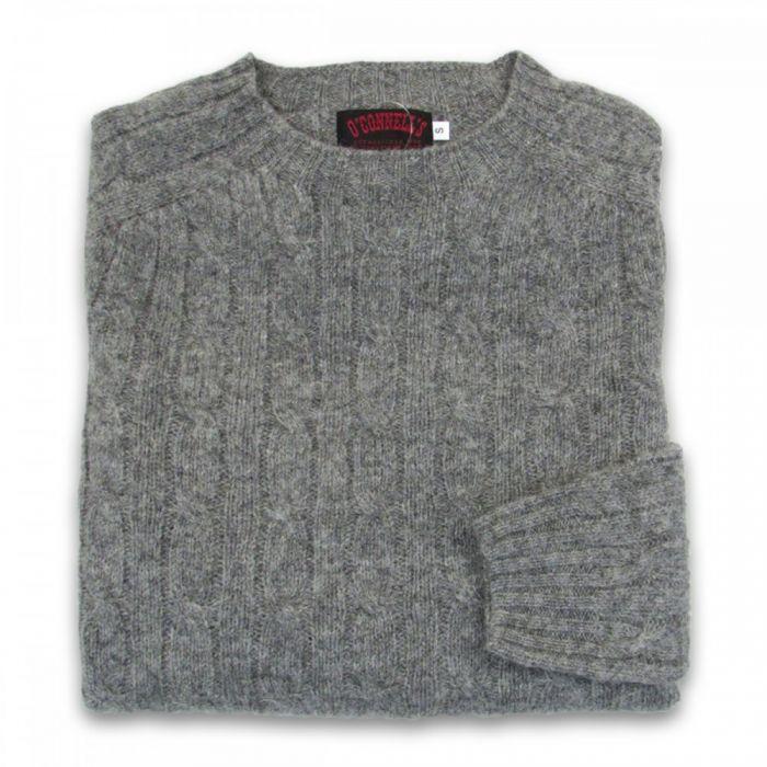 Womens Scottish Shetland Wool Crewneck Sweater Cable Knit Medium Grey
